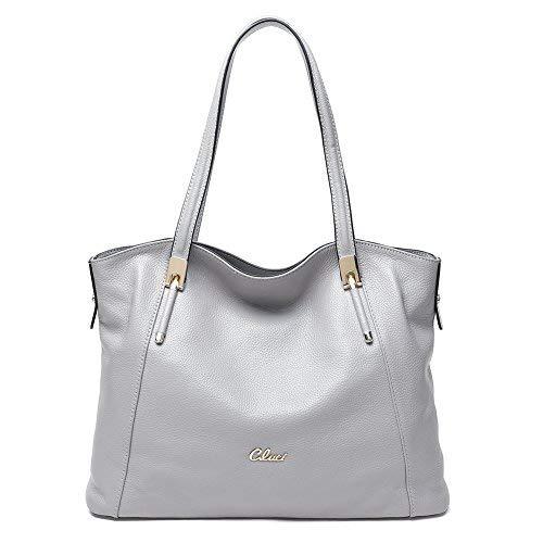 CLUCI Frauen Damen Ledertasche Handtasche Umhängetasche Schultertasche Tote Bag Elegant Grau
