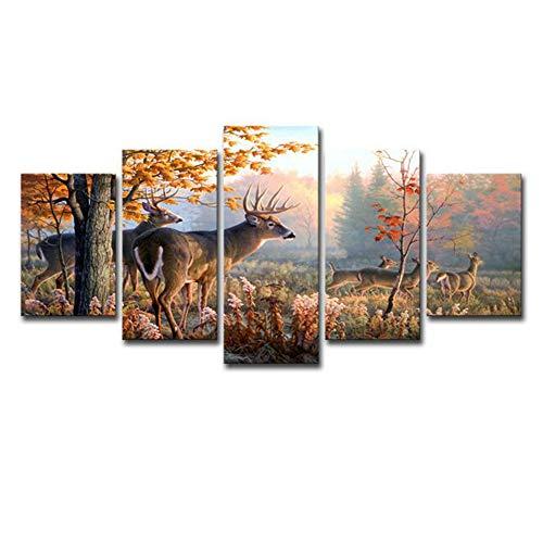 JFW-5 Panel Wald Wunderland Tier Hirsche Wandkunst Bild Home Decoration Wohnzimmer Leinwanddruck Bild Druck Auf Leinwand,A,30x45x2+30x60x2+30x76x1