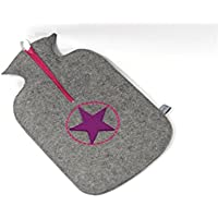 "Filzschnitt, kuschelige Wärmflasche ""Star"" mit handgefertigtem Bezug aus 100% Schurwollfilz naturgrau pink preisvergleich bei billige-tabletten.eu"