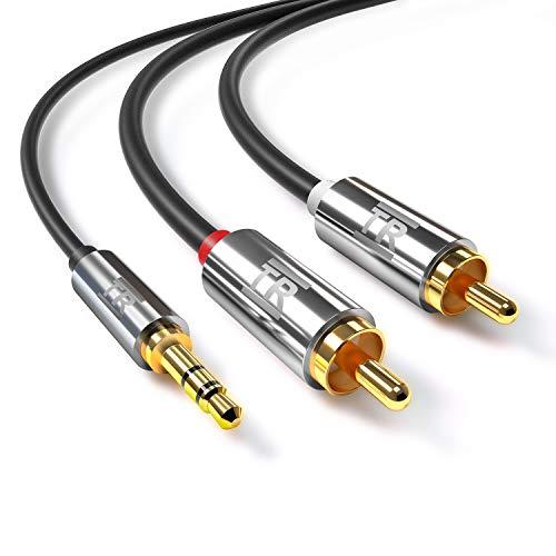 Cavo Audio RCA TechRise Cavo Adattatore Jack 3.5 2RCA Maschio 1.5m per Home Theater HDTV Altoparlanti Stereo Subwoofer ect