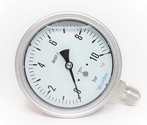 Sensotec Manometer aus Edelstahl, Reichweite 0 bis 10 bar, Füllung mit Glycerin, Kugel 100 mm, Modell MEX5-D31.B22 -