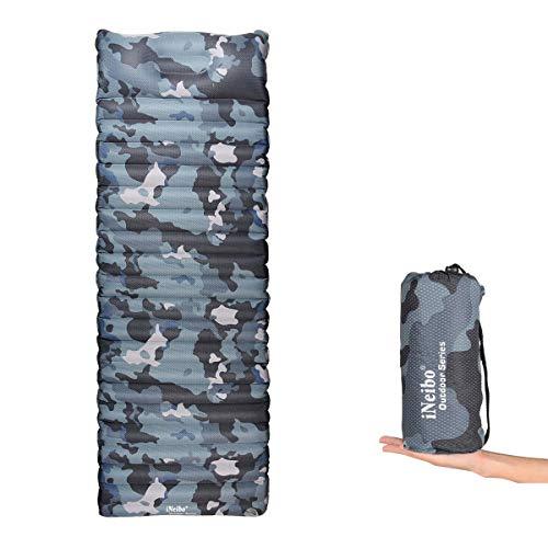 iNeibo Camping Luftmatratze ultraleicht, Outdoor Isomatte mit integriertem Kissen aus TPU (186x60x8,5cm) (Camo) (Camo Winter Zelt)
