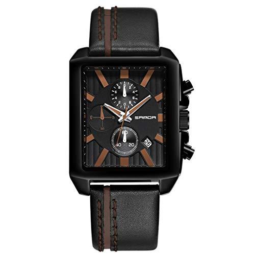 Huacat Herrenuhr Herren Quadratisches Zifferblatt Sportuhr Luxusmarke Chronograph Lederband Quarz Militäruhr Britischer Stil Uhr
