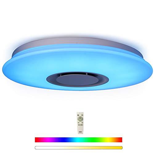 HOREVO Luminaire Plafonnier LED avec Haut-parleur Bluetooth, Lampe Luminaire du mont Plafond Télécommande + Téléphone APP, Ø40cm 24W RGBW éclairage réglable pour cuisine Salle de bain Salle Cuisine