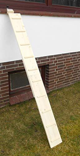 Jennys Tiershop 3 Meter! Katzenleiter (mit 2 Verbindungsstücken) Katzentreppe für Balkon, Katzenmöbel, Fichte Natur 20 cm, Mit Haken! (4b)