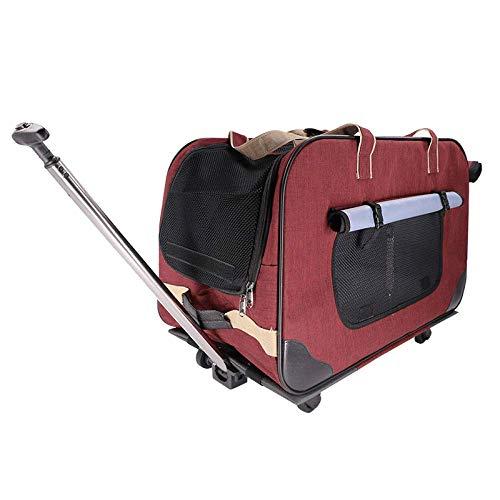 LIRUI Pet Klappbare Hundebox Hund Transportbox Faltbare Stoff Hundefaltbox Polster Henkel Trage Tasche 62 * 35 * 39CM,Red