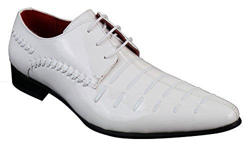 Chaussures homme à lacets cuir PU verni blanc design italien look chich décontracté Blanc