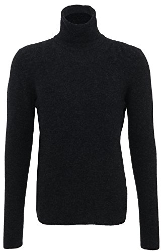 Roberto Collina Pullover da uomo gewalkter roll colletto antracite Grau 52