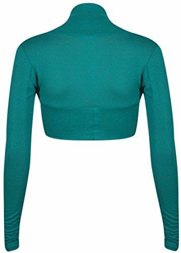 Da donna Tinta unita A Maniche Lunghe Donna anteriore aperto elasticizzato Bolero Cardigan Coprispalle Maglia Top Corto Cerise