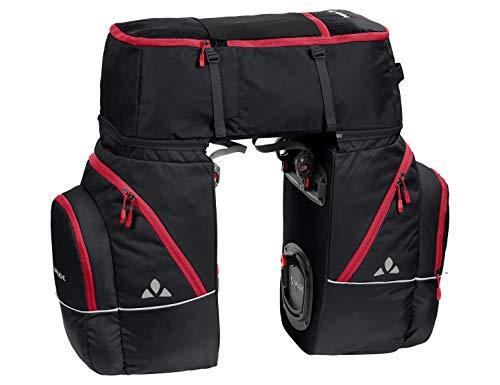 VAUDE Unisex-Erwachsene Karakorum, Dreifachtasche zum Radfahren' Hinterradtaschen, Black/Red, One Size