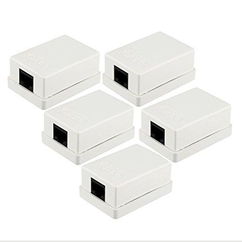 ZCHXD 1-Port Keystone Jack Surface Mount Box Cat6 in White 5 Pack Jack White Surface Mount Box