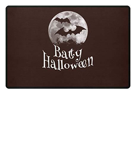 Shirtee Batty Happy Halloween - gruselige Fledermäuse vor stylischem Vollmond an Samhain - Fußmatte