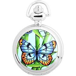 UNIQUEBELLA Pocket watch-Quartz-Men/ Women/ Children-Vintage-Alloy Chain/Necklace-B5-S3030 Silver-Butterfly