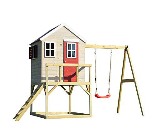 Wendi Toys M23 Nordic Lodge House | Kinder Holzhaus im Freien Spielhaus auf 90 cm hohe Plattform mit voller Tür, Perspex Fenstern, Boden, Fensterläden, 200 cm hohe einzelne Schaukel - Schaukel Kinder Mit Spielhaus