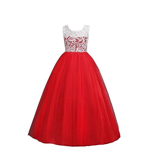 Wulide Kinder Mädchen Prinzessin Kleid Abendkleid mit 'Blumen'-Muster, Rot,...