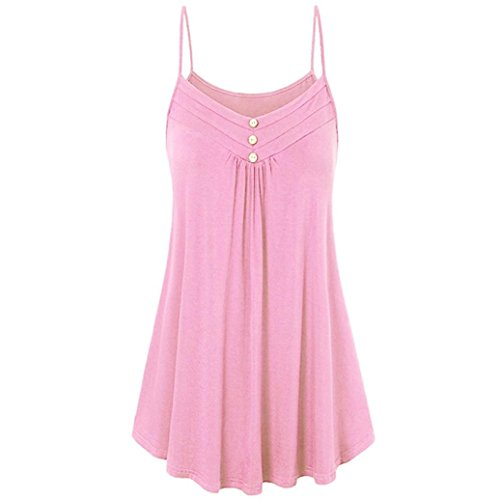 VEMOW Sommer Muttertag Geschenk Casual Täglichen Frauen Damen Lose Taste V-Ausschnitt Cami Tank Tops Weste Bluse T-Shirt T-stücke Pulli Pullover(Rosa, EU-50/CN-5XL)