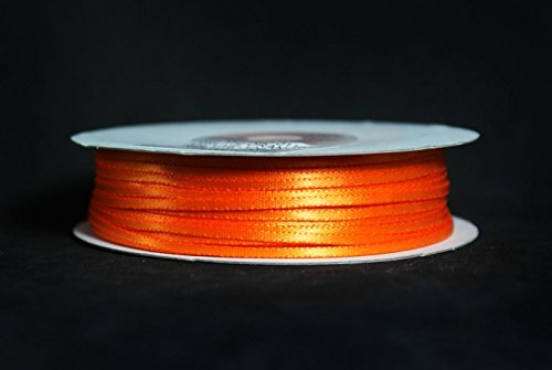 Made in Taiwan Double Face Satin Ribbon Polyester 100yrds Spool 1/8 Orange by CalCastle -