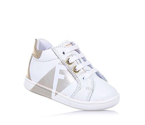 FALCOTTO - Scarpa stringata Lucky bianca e dorata, ideale per il primo passo e per il gattonamento, lacci bianchi, Bambina, Ragazza-18