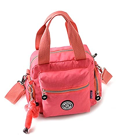 Fansela(TM) Women's Travel Waterproof Nylon Tote Single Shoulder Crossbody Handbag Pink