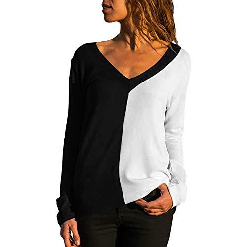 Binggong Pull Femme Hiver Chaud Pullover Pas Cher A La Mode Tops Femmes Chemisier Mousseline de Soie T-Shirt Solide Bureau des Dames à Manches Longues Blouses (L, Noir-A)