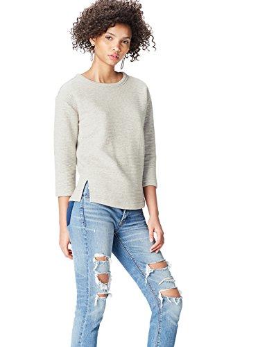 find. Sweatshirt Damen gerippt, mit 3/4-Ärmeln Grau, 44 (Herstellergröße: XX-Large) -