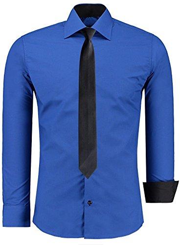 Jeel Herren Slim Fit Hemd Figurbetont Bügelleicht Business Freizeit Hochzeit Hemden (L, Blau mit Krawatte) (Shirt Blau Krawatten)