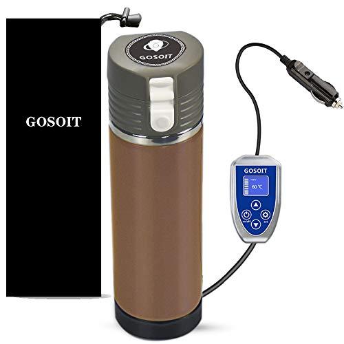GOSOIT Auto Wasserkocher Tasse Elektrische Smart Kaffeetasse Reise Auto beheizte mit LED-Anzeige, Kaffeewärmer und Wasserkocher, 12V 24V Verwendbar Hoch Niedrig Einstellbar (Gold)