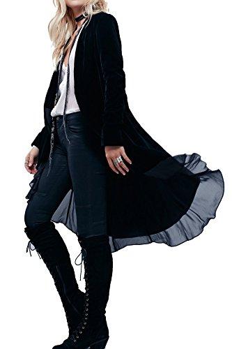 Pretty-Boho Trench da donna per autunno inverno, copriabito elegante, lungo Black