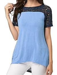 089a2176c48b Bluestercool T-Shirt Donna Pizzo Eleganti Bluse Manica Corta Patchwork
