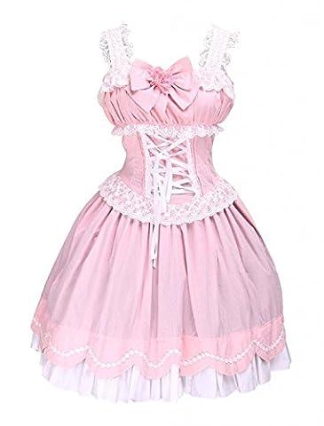 Cemavin Robe de lolita douce Coton Sans Manche Jabots