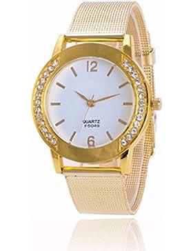 JIANGFU Genf Uhr,Art- und Weisefrauen-Kristall-goldene Edelstahl-analoge Quarz-Armbanduhr