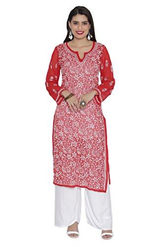 ADA Hand Embroidered Lucknow Chikan Regular Wear Faux Georgette Kurti Dress A90361