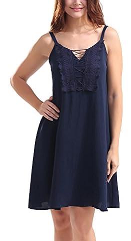 SunIfSnow - Robe spécial grossesse - Plissée - Uni - Sans Manche - Femme - bleu - Large