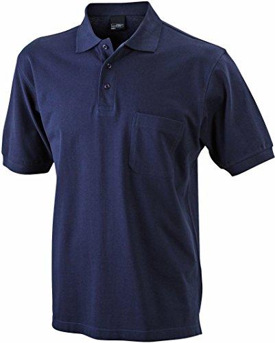 Men's Polo Pocket/James & Nicholson (JN 922) S M L XL XXL 3XL, navy, L - Pocket Pique Polo-shirt