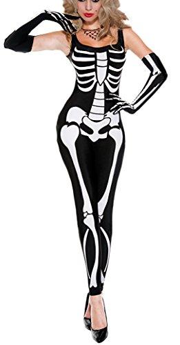 Frauen Scary Skelettes Druck Overall gespenstische Kostüm alle in Einem size36-40 ()