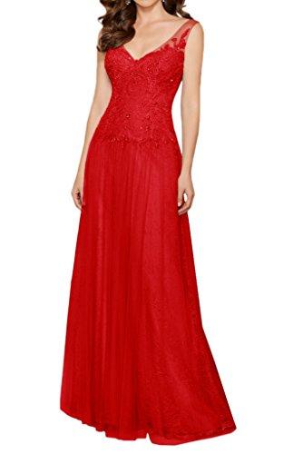 Milano Bride Herrlich V-Ausschnitt Lang Abendkleider Ballkleider Promkleider mit Perlenstickerei Rot
