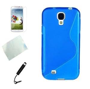 Samsung galaxy S4 S IV i9500 TPU Schutzhülle S Line Case+s4 Displayschutzfolie Front Protector,Stylus,Reinigungstuch (Blau)