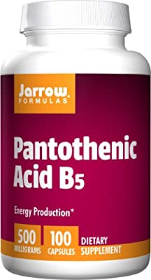 Jarrow Pantothenic Acid B5 (500mg, 100 Capsules) by Jarrow FORMULAS