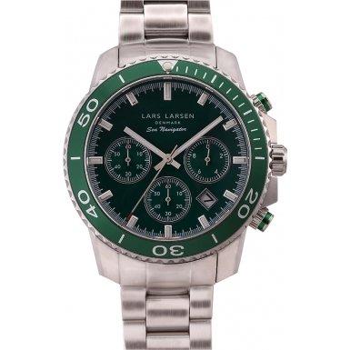 Lars Larsen 134SBSB Mens Sea Navigator Sport Silver Steel Bracelet Watch