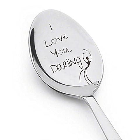 I Love You Darling avec Dancing Girl–Cute Cadeau–gravé Spooon–argenterie Cuillère Cadeau d'anniversaire–Cadeau de mariage–Petite amie–Wife