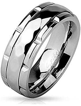 Tapsi´s Coolbodyart® Edelstahl Ring silber 8mm breit Spinner mit Diamantenprofil und geriffeltem Zentrum verfügbare...