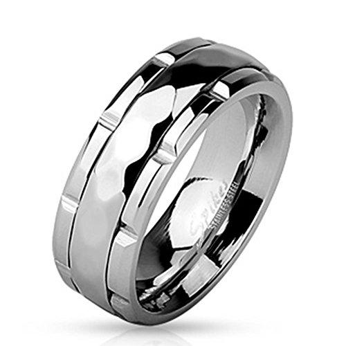 Paula & Fritz® Anello in acciaio inox chirurgico 316L argento larghezza 8mm profilo Spinner con diamante e vaso bianco centro anello disponibili dimensioni 60(19)-69(22) R m4532, acciaio inossidabile, 20, colore: argento, cod. R-M4532_90