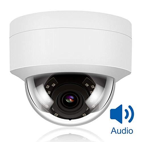 Objektiv Dome-gehäuse Wandhalterung (5MP HD IP PoE Überwachungskamera Außenbereich mit Audio, Weitwinkel 2,8 mm Objektiv, IR Nachtsicht Überwachungskamera Outdoor Indoor wetterfest, Bewegungserkennung,kompatibel mit Onvif Hikvision)