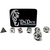 Metallic Dragon - Solid Metal Poly Dice Set By DnDice - Available in Gold, Silver, Copper with Dragon Insignia Presentation Tin (Brilliant Silver Metallic Dragon)