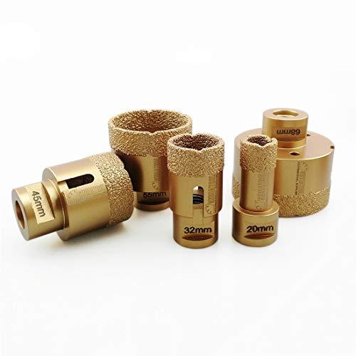 SHDIATOOL 5pcs/set Diamant-bohrkrone Diamanthöhe 15MM für Porzellan Fliese Granit Marmor Trockenbohren Durchmesser 20/32/45/55/68mm
