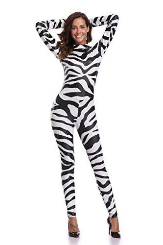 SEXY-MAN Catsuit Schwarz-Weiß-gestreiften Zebra Siamesische Kostüme Halloween Cosplay Kostüm Langarm Skinny Long Jumpsuit Ganzanzug Bodysuit, 011