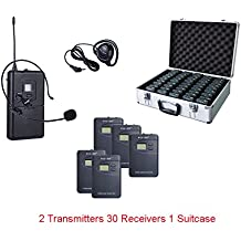ZLWUS 800R Tour Guide System , UHF794~806MHz Digital AudioGuias y AudioGu¨ªas(2pc Transmisors + 30pc Auricular + Suitcase) Para Ense?anza Visiting and Conference(Gris)