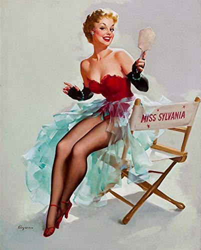 JH Lacrocon Leinwand Kunstdruck Pin-Up-Mädchen Bild Deko 40X50cm Poster Sylvania Kalender 1955 Von Gil Elvgren Foto Vintage (Vintage Pin-up-kalender)