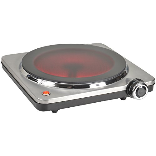 Kitchen Chef – HP102-T10 – Vitroceramic Electric Hob- 1 Hotplate – Stainless Steel – 1500W