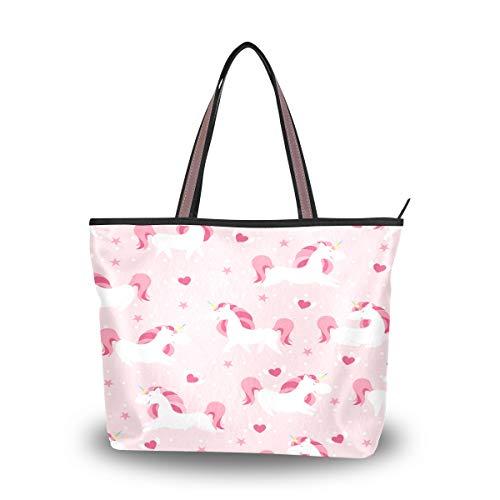 Emoya Fashion Tote Bag Fairytale Magic Unicorn Heart Dot Top Handle Satchel Handtasche Geldbörse Schultertasche Messenger Bag L, Mehrfarbig - multi - Größe: Large -